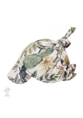 Viazaná šatka so šiltom s motívom ornitológie - 100% bambus