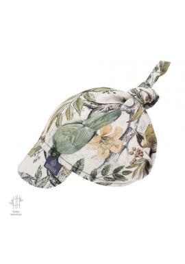 Detská šatka so šiltom s motívom ornitológie na gumičke - 100% bambus