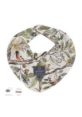 Obojstranný zamatový šál s motívom ornitológie