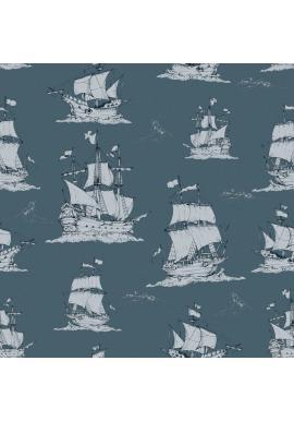 Tmavomodrá tapeta s motívom lodí