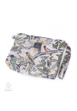 Vodeodolná kozmetická taštička s motívom ornitológie