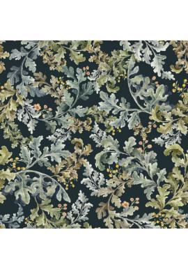 Tmavomodrá tapeta s motívom listov z tropického raja
