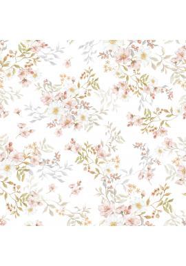 Biela tapeta s kvetinami v pastelových farbách