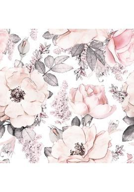 Biela tapeta na stenu Ružová záhrada