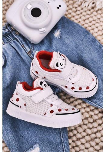 Červeno-biele tenisky s pandou pre dievčatá