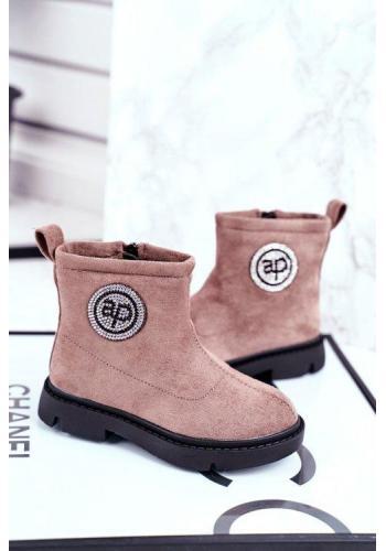 Béžové semišové topánky pre deti