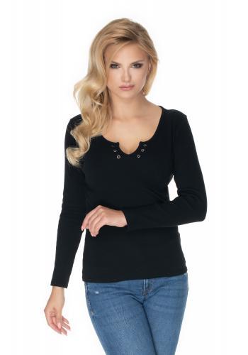 Bavlnená blúzka s dlhým rukávom v čiernej farbe a výstrihom s gombíkmi pre dámy