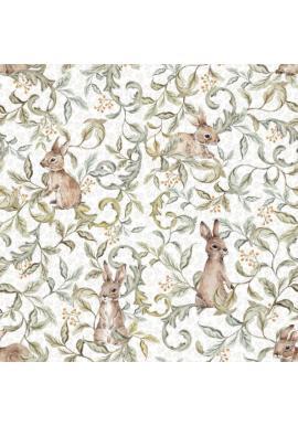 Biela tapeta s veselými zajačikmi