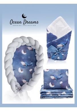 Saténová výbava pre novorodenca 4v1 - Ocean Dreams/ sivá
