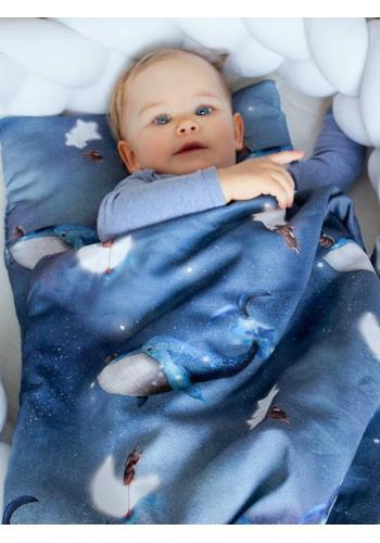Saténová výbava pre novorodenca 4v1 - Ocean Dreams/ biela
