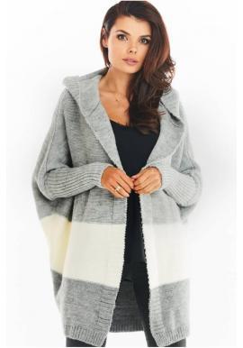 Sivý jesenný kardigán s kapucňou pre dámy