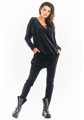 Zamatová dámska súprava čiernej farby