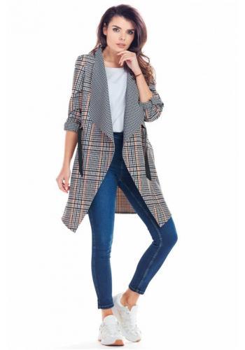 Dámske elegantné sako s károvaným vzorom v tmavomodrej farbe