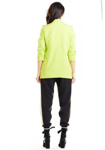 Dámske voľné sako bez zapínania v limetkovej farbe