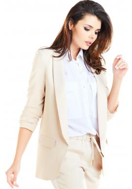Voľné dámske sako béžovej farby bez zapínania
