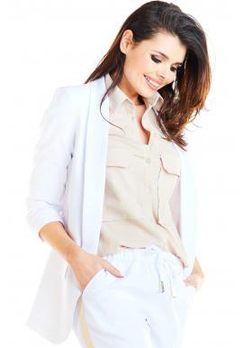 Biele voľné sako bez zapínania pre dámy
