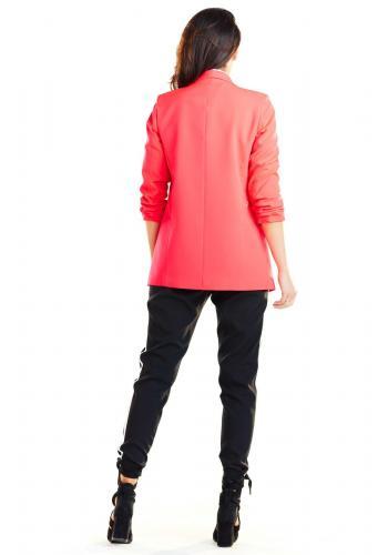 Voľné dámske sako ružovej farby bez zapínania