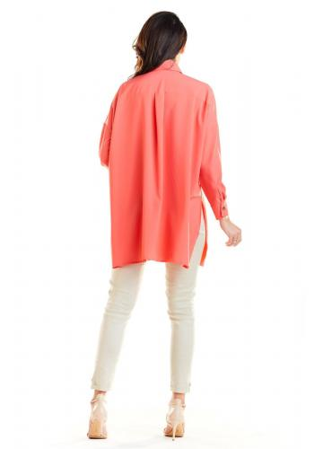 Korálová oversize košeľa s dlhým rukávom pre dámy