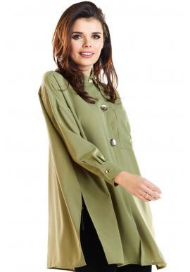 Dámska oversize košeľa s dlhým rukávom v kaki farbe