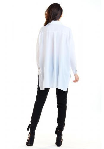 Biela oversize košeľa s dlhým rukávom pre dámy