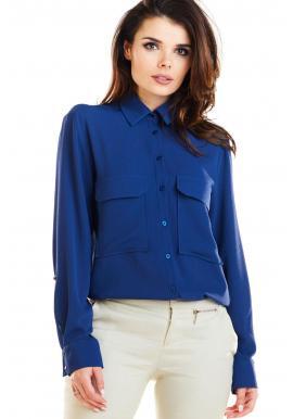Dámska klasická košeľa s vreckami na hrudi v tmavomodrej farbe