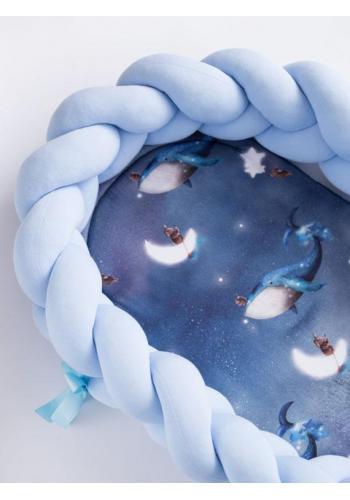Uzlíkové detské hniezdo PREMIUM 2 v 1 - svetlo modré/Ocean Dreams