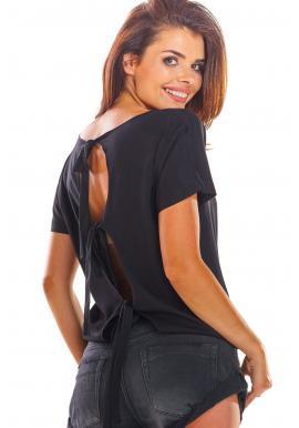 Dámska módna blúzka s viazaním na chrbte v čiernej farbe