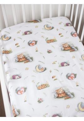 Bavlnené detské prestieradlo na posteľ s gumkou - Forest Moments