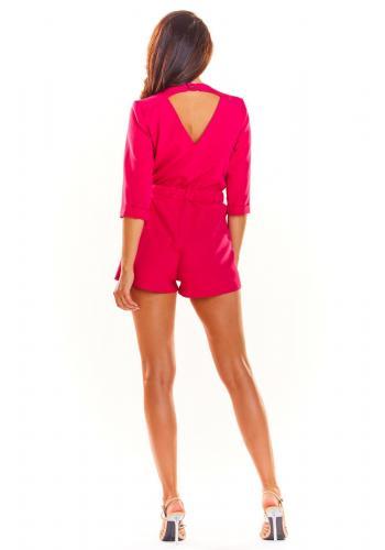 Dámsky elegantný overal s 3/4 rukávom v ružovej farbe