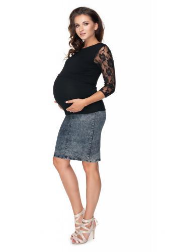 Tehotenská a dojčiaca blúzka s dlhým rukávom s čipkou v čiernej farbe
