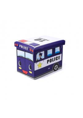Modrý kôš na hračky - taburetka v podobe policajného auta