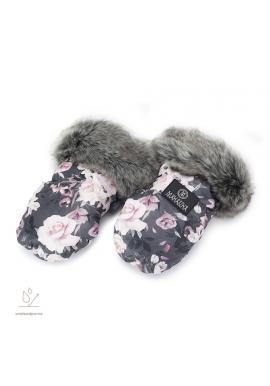 Vodeodolné rukavice na kočiar s motívom nočných kvetov