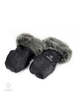 Čierne vodeodolné rukavice na kočiar