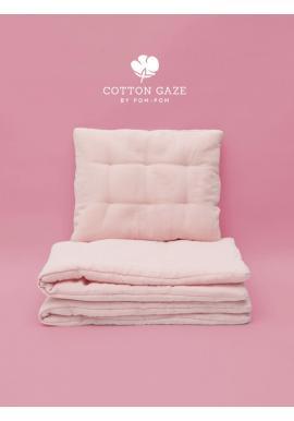 Mušelínové obliečky s integrovanou výplňou v púdrovo ružovej farbe