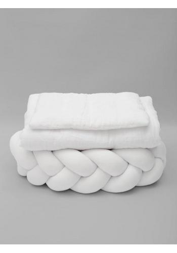 Biele mušelínové obliečky s integrovanou výplňou
