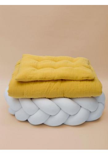 Detské mušelínové obliečky s integrovanou výplňou v horčicovej farbe
