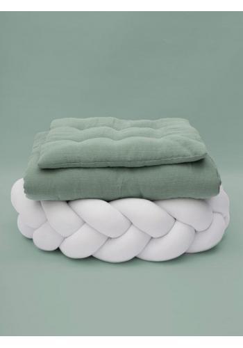 Mušelínové obliečky s integrovanou výplňou v mätovej farbe