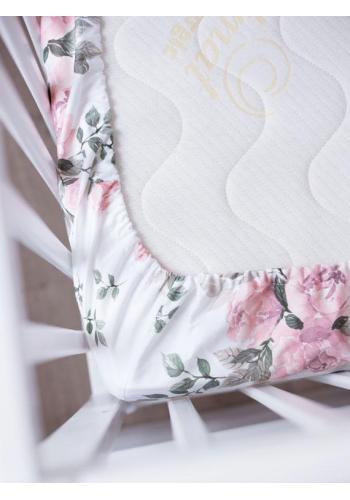 Bavlnená detská posteľná plachta s gumkou s motívom kvetov