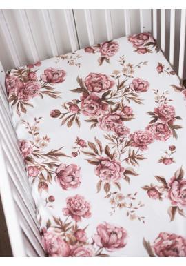 Detská bavlnená plachta s gumkou na posteľ - Vintage Pivónie