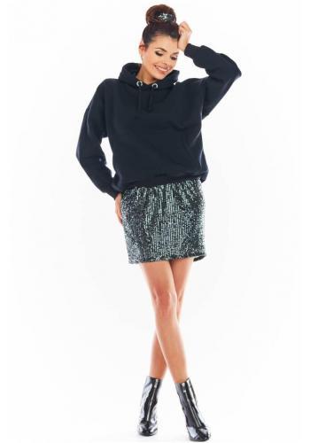 Mini dámska sukňa tmavosivej farby s flitrami