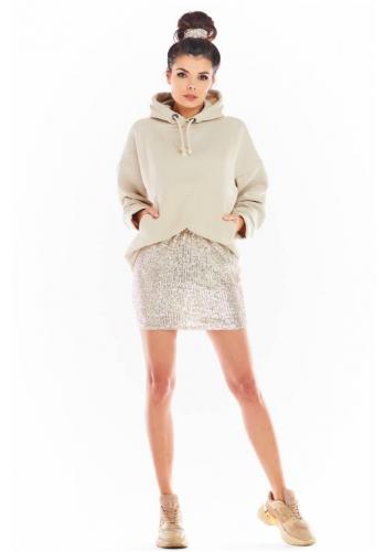 Dámska mini sukňa s flitrami v béžovej farbe