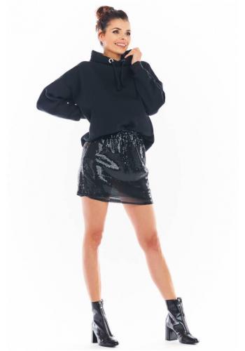 Mini dámska sukňa čiernej farby s flitrami