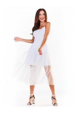 Dámska tylová sukňa s bodkami v bielej farbe