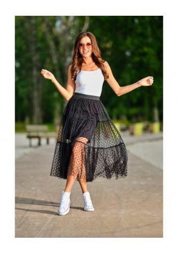 Čierna tylová sukňa s bodkami pre dámy