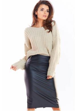 Ceruzková dámska sukňa čiernej farby z ekokože
