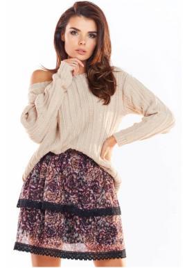 Dámska vzorovaná sukňa s čipkou