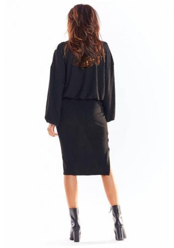 Čierna ceruzková sukňa s ozdobnými gombíkmi pre dámy