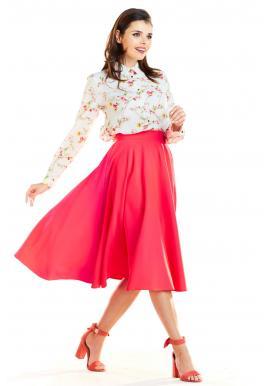 Dámské rozšírené sukne s vreckami v ružovej farbe