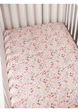 Detské bavlnené prestieradlo na posteľ s gumkou - Retro kvety