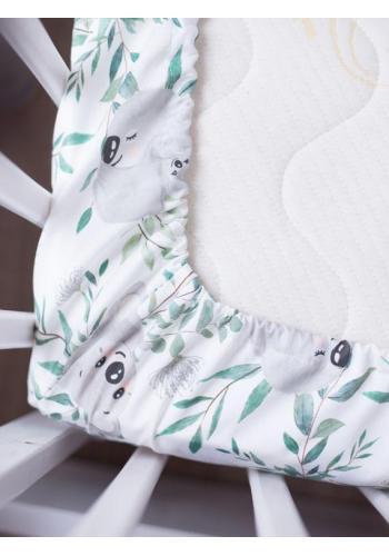 Detské bavlnené prestieradlo na posteľ s gumkou s motívom koaly